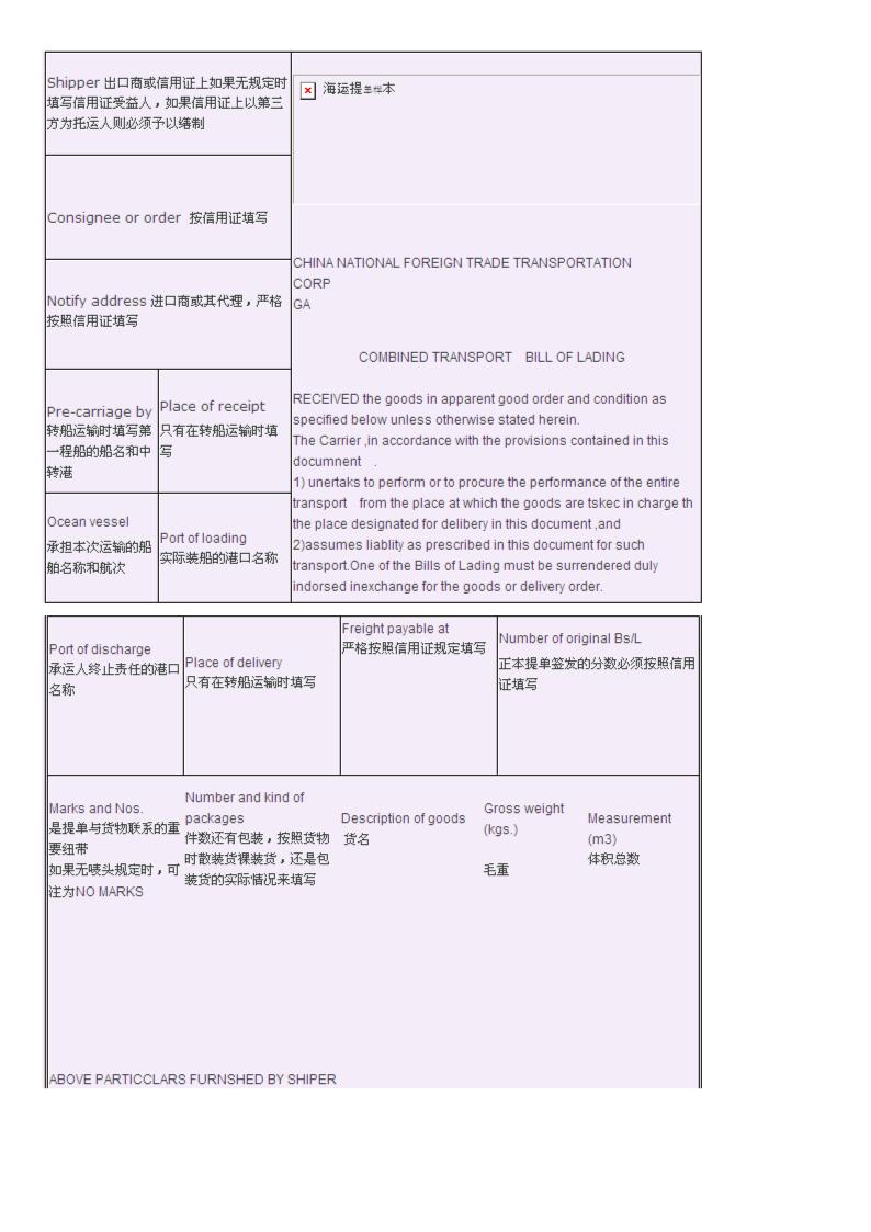 海运提单样本分析报告.doc