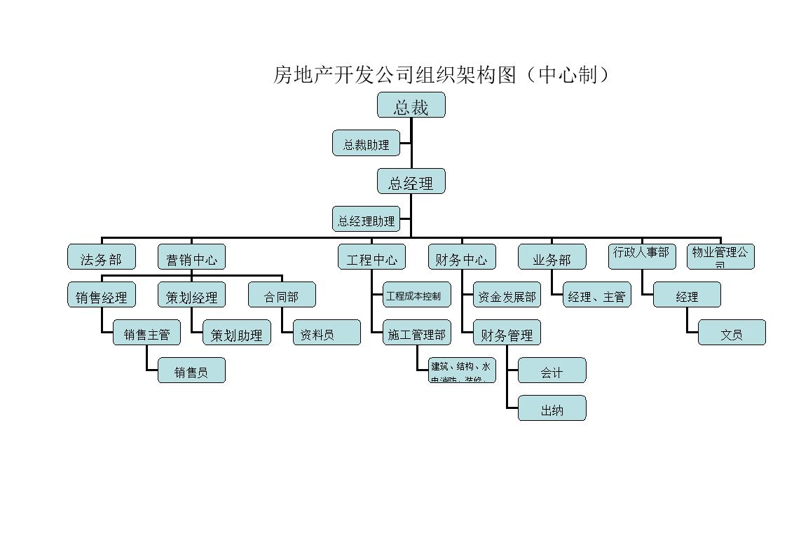 房地产开发司组织架构图.doc