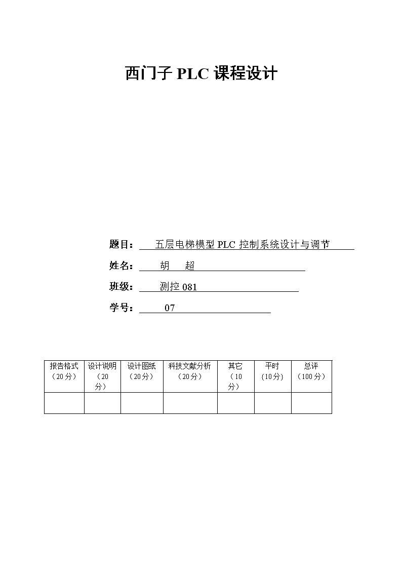 西门子PLC课程设计题目:五层电梯模型PLC控制系统设计与调节姓名:胡超 班级:测控081学号:07报告格式(20分) 设计说明(20分) 设计图纸(20分) 科技文献分析(20分) 其它(10分) 平时{10分} 总评(100分) 目录一电梯控制的原理与实现 11.1电梯控制系统构成 11.2电梯的工作原理及功能要求 21.