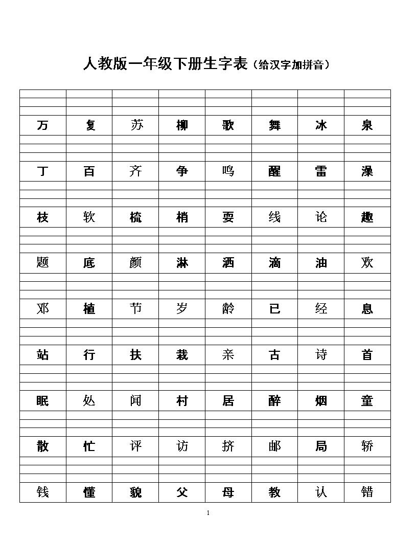 人教版一年级下册生字表(给汉字加拼音).doc图片