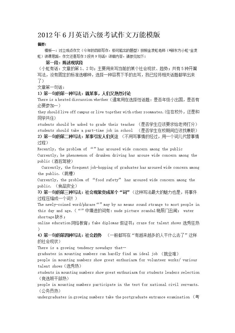 (大学生英语六级考试作文万能高分必过模版.d