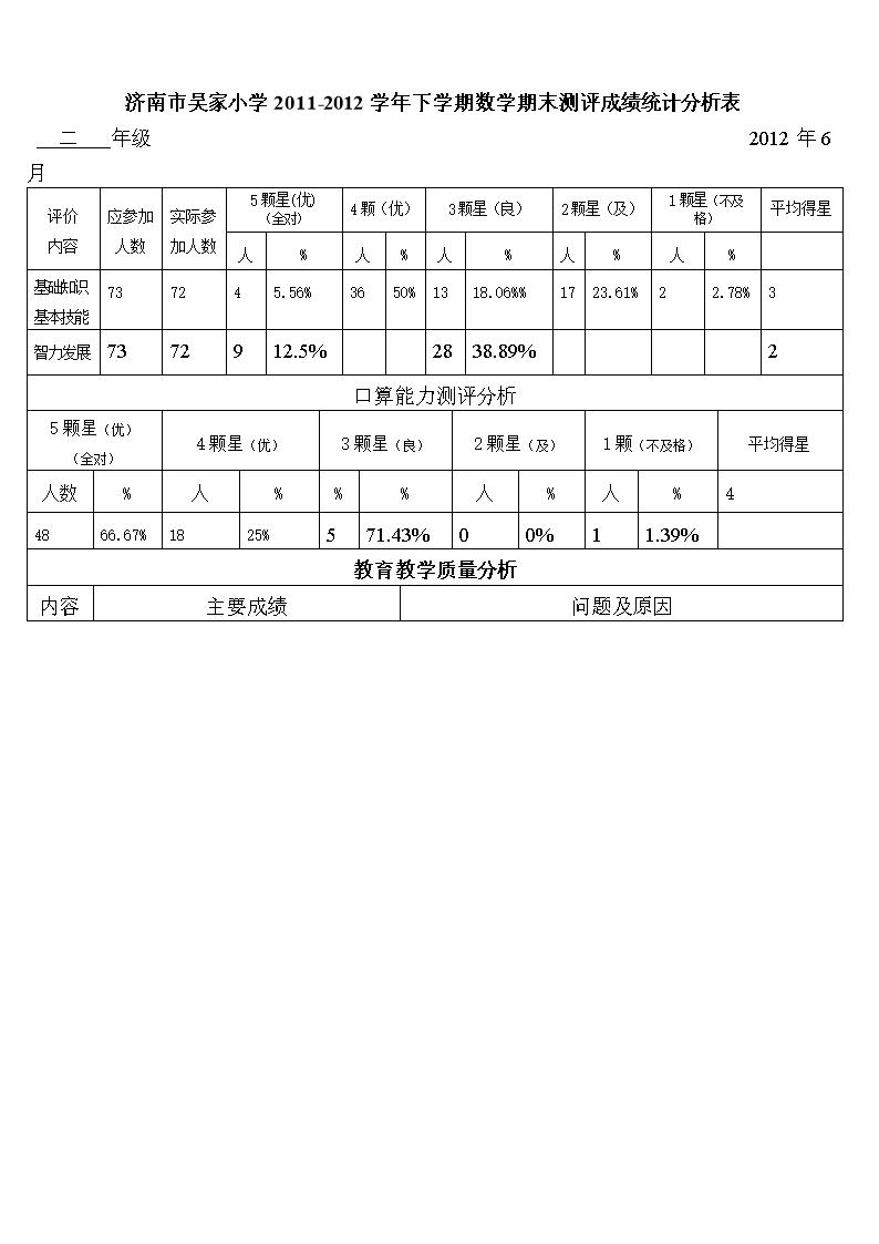 [年级小学二质量期末教学小学v年级表.doc名称数学香港图片