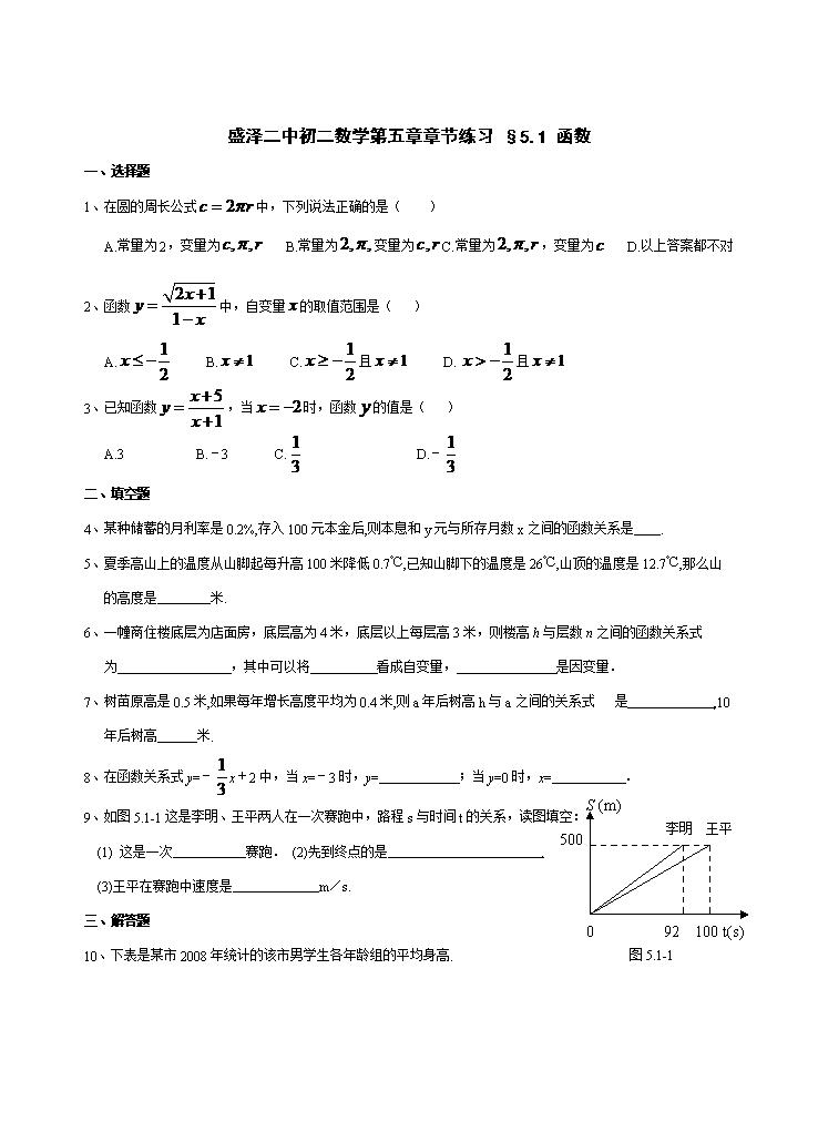 (體操數學第五章一次函數整章練習題.doc初中武術初中圖片