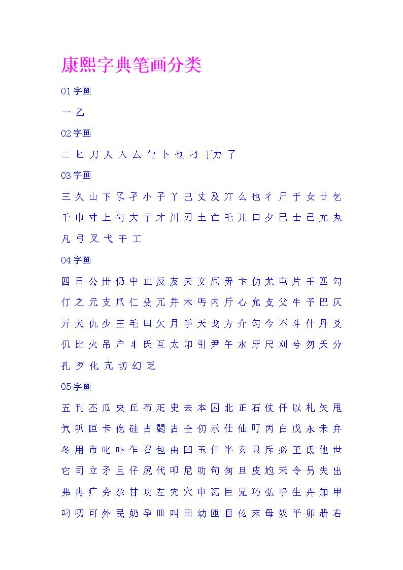 康熙字典笔画分类解析.doc