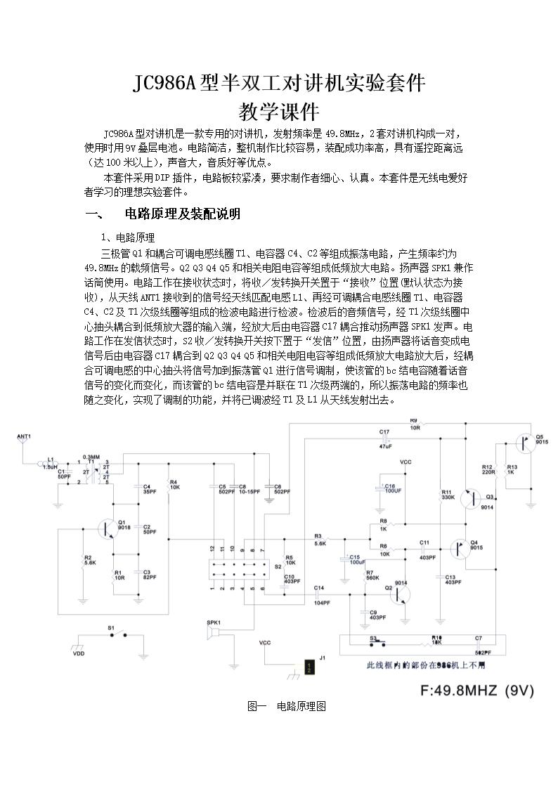 电子教程:jc986a型半双工对讲机实验套件.doc