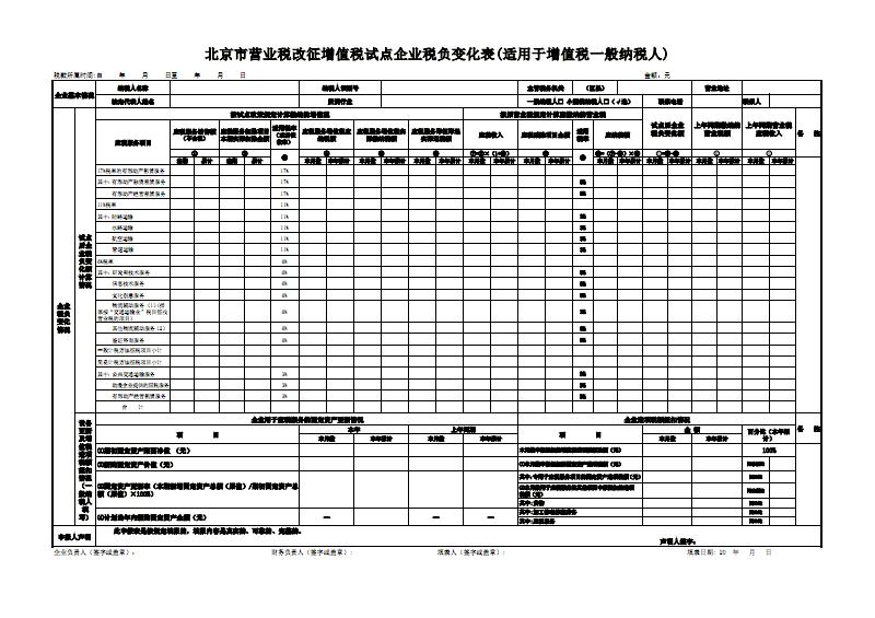 营业税改征增值税表_北京市营业税改征增值税试点企业税负变化表(适用于增值.pdf