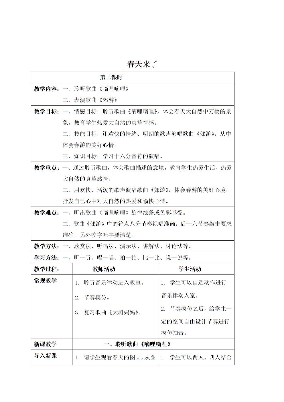 (人音版)二年级音乐下册教案 春天来了(第二课时).doc