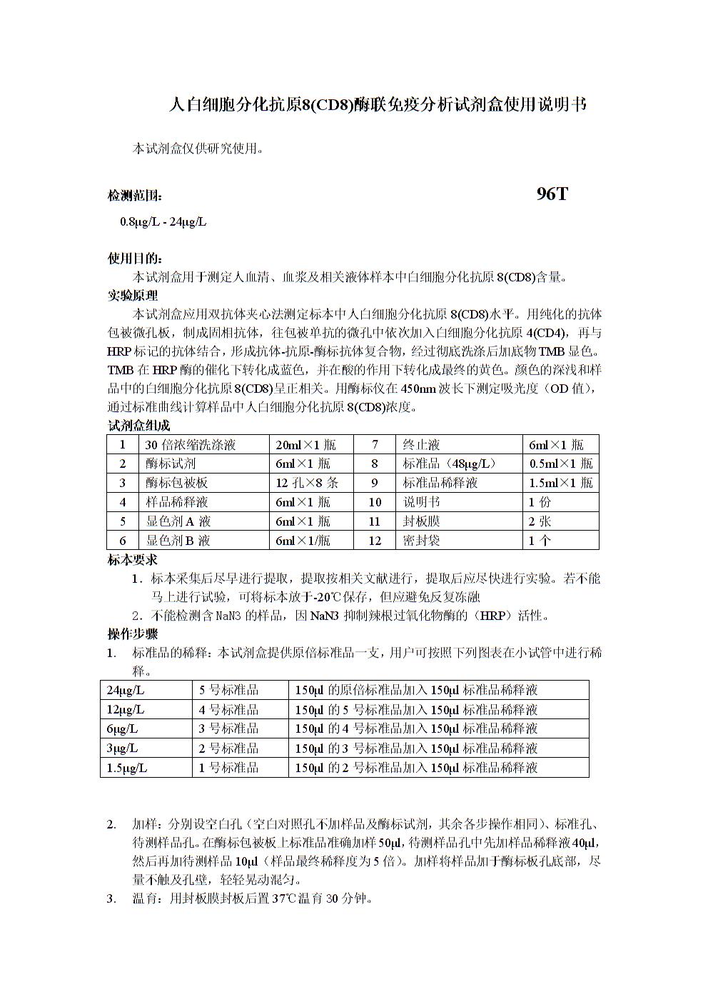 实验原理本试剂盒应用双抗体夹心法测定中8(cd8)水平.