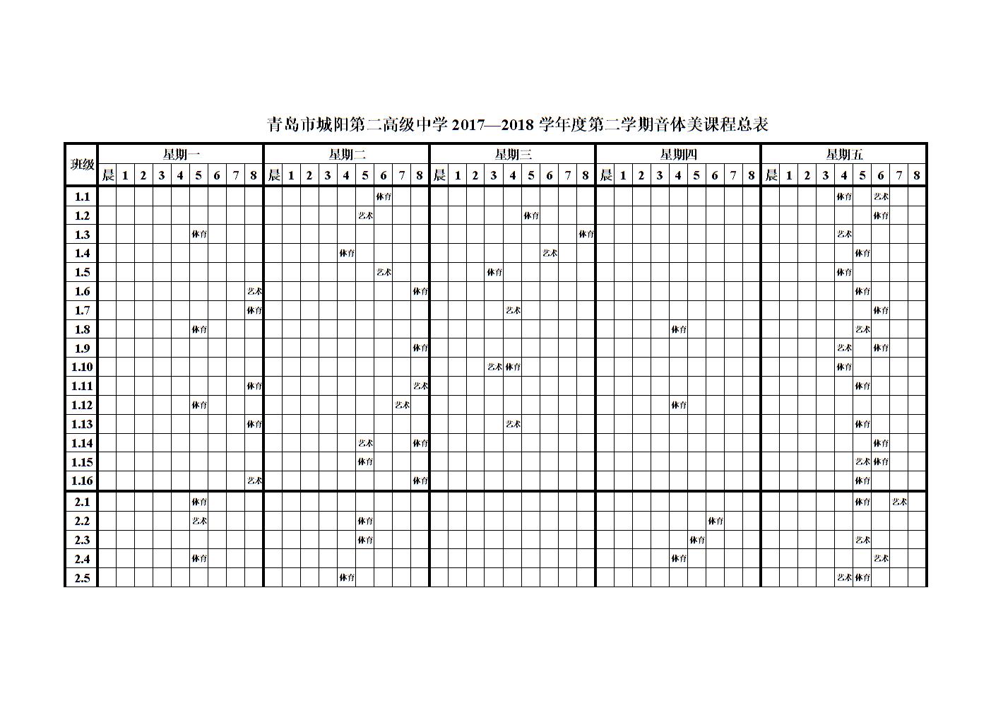 青岛市城阳第二高级中学2017—2018学年第二学期音体美.doc