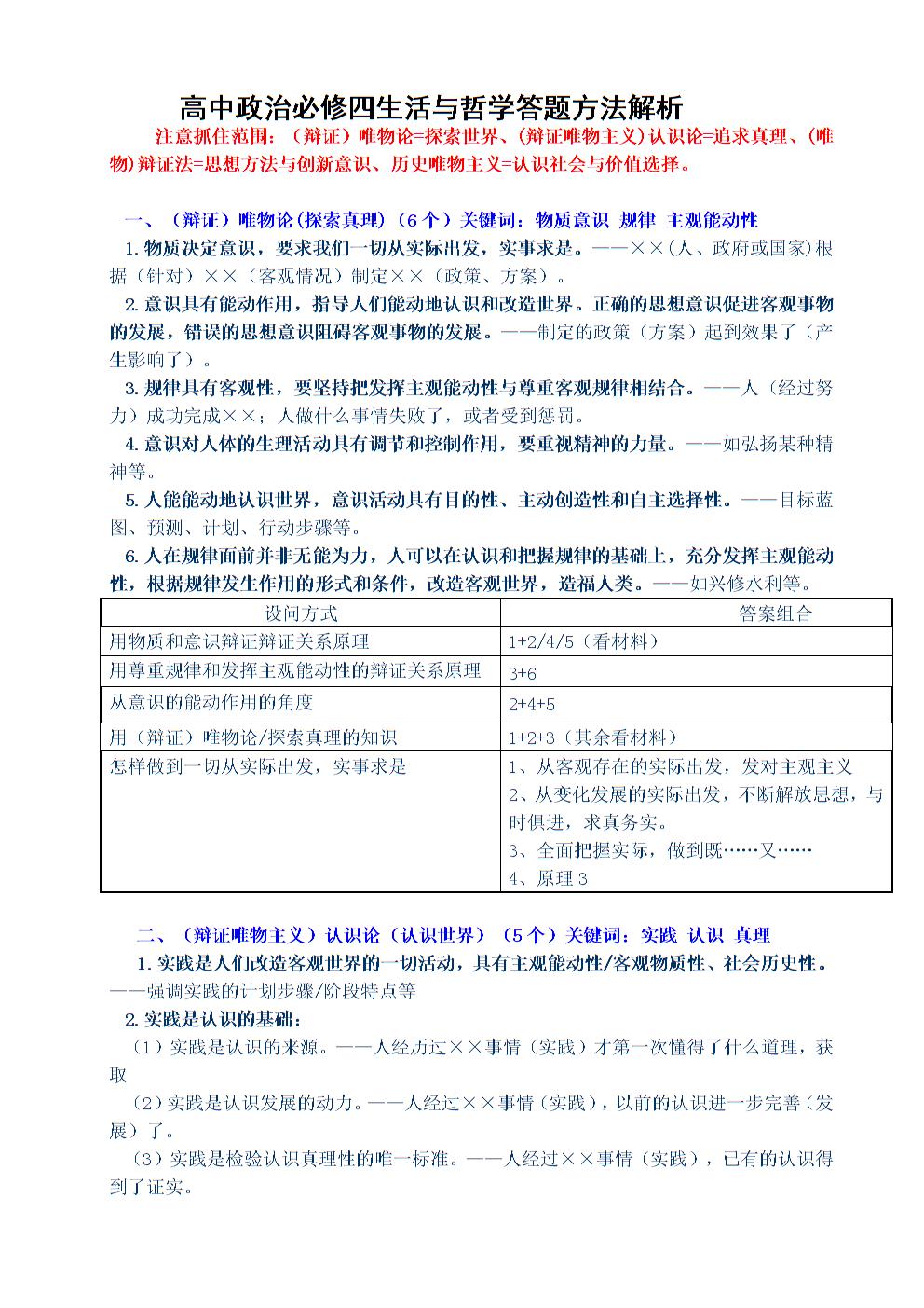 中学学校生活四必修和哲学解析方法答题.docx政治高中高中水东图片