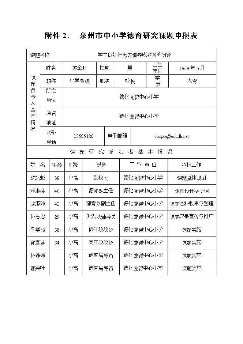 泉州市中小学德育研究课题申报表[精选].doc