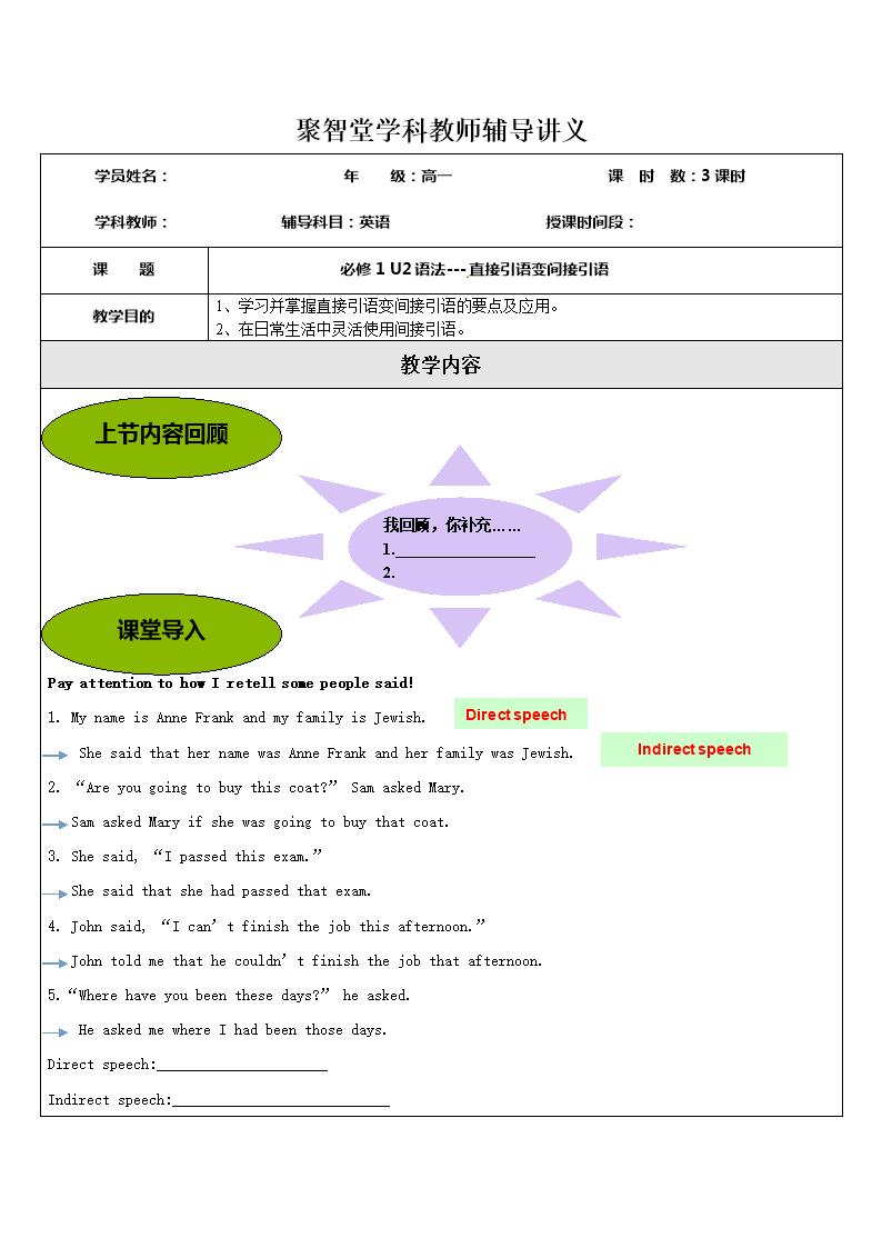 北京聚智堂培训学校高中英语必修一Unit2+语法